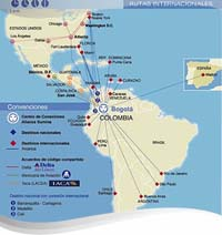 Avianca International Route Map