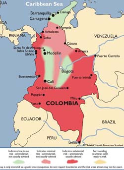 Malaria Zones Map of Colombia